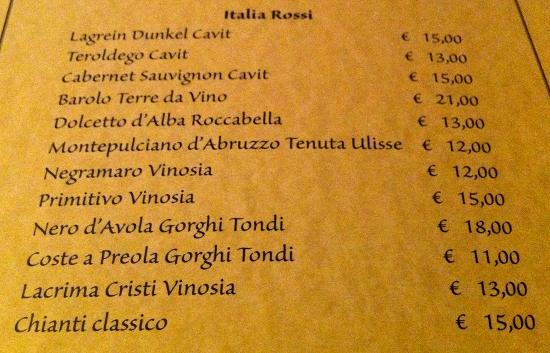 La Credenza Carta Dei Vini : Lista dei vini u2013 natural food & wine