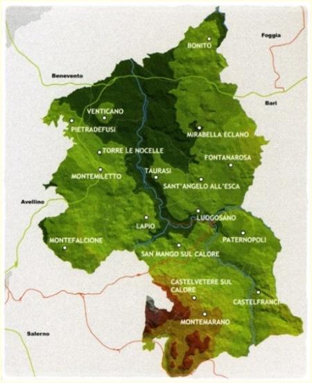 Carta geografica del Taurasi docg - foto L'Arcante