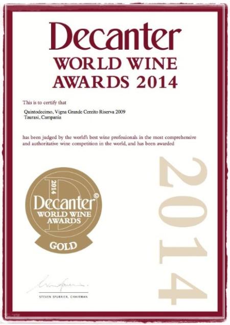 Taurasi Riserva Grande Cerzito 2009 Quintodecimo Decanter Award 2014