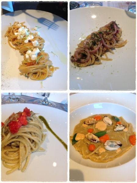 Spaghettoni, con Ricci di mare e Bufala, con Cipolla rossa e Lime, Con Alici e pomodoro. L'Impepata - foto L'Arcante